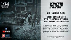 23 février 1709 - Ordre d'enlever la neige et les déchets à Montréal