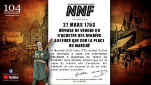 27 mars 1753 - défense de vendre ailleurs qu'au marché