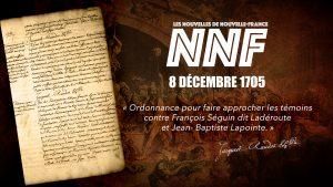 Nouvelles de Nouvelle-France - 8 décembre 1705