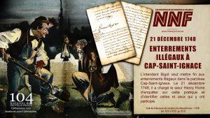 21 décembre 1748 - Enterrements illégaux au Cap-Saint-Ignace