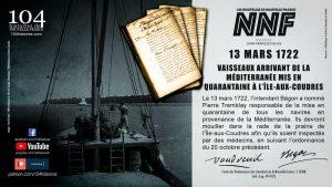 13 mars 1722 - Mise en quarantaine des navires arrivant en Nouvelle-France