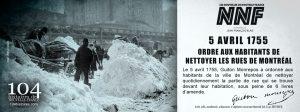 5 avril 1755 - Ordre de nettoyer les rues - Nouvelle-France