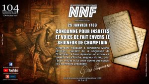 25 janvier 1733 - Condamné pour insultes et voies de fait