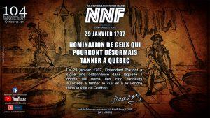 29 janvier 1707 - Nomination des tanneurs autorisés à Québec - Nouvelle-France