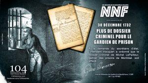30 décembre 1732 - Geôlier de Montréal grâcié